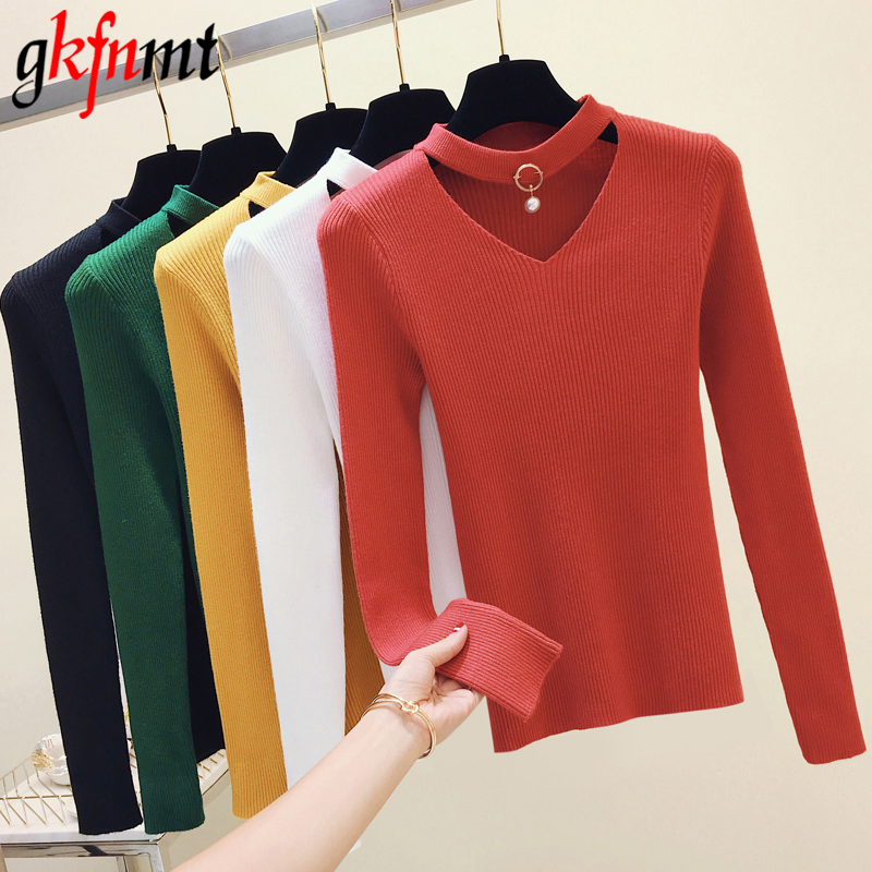 Basic Sweater V-Neck Women Pullover Knitted Pull Femme Long-Sleeve Soft Black Sexy Autumn Winter
