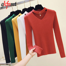 Basic Sweater Women Pullover Knitted Long Sleeve Sexy V-Neck Women Sweaters Top Autumn Winter Soft Elasticity Pull Femme Black(China)