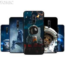 funny Space Love Moon Astronaut Cat Silicone Case for Oneplus 7 7Pro 5T 6 6T Black Soft Case for Oneplus 7 7 Pro TPU Phone Cover