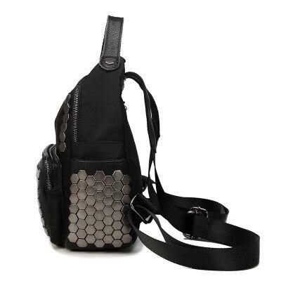 Début de l'été Rivets Surface douce Double sac à bandoulière dames décontracté sac à bandoulière fermeture éclair grande capacité collège vent - 2