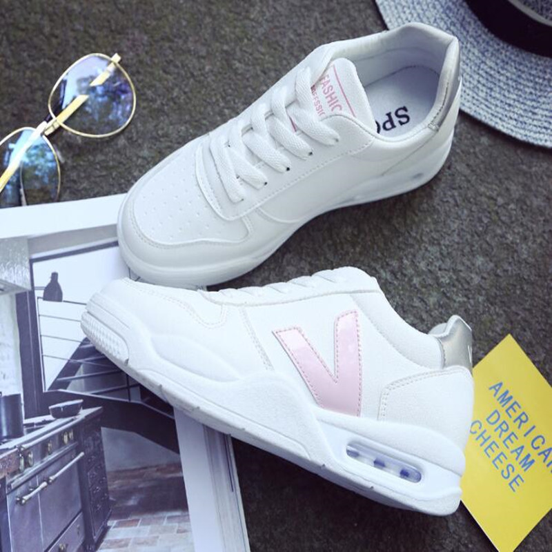 2018 new white sports shoes female thick white shoes air cushion running shoes shoes