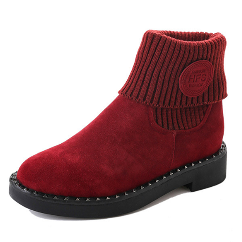 Women's Boots Winter Warm Elastic Knitted Snow Boots New Fashion Ladies Round Toe Mid Calf Boots Girls Thick Plush Flock Shoes double buckle cross straps mid calf boots