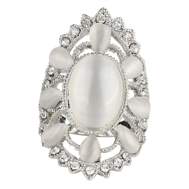 Retro Bohemian Natural Stone Fashion Aros Mood Vintage Carter Female Boho Crystal Wedding Ring Punk Rhinestone Rings For Women