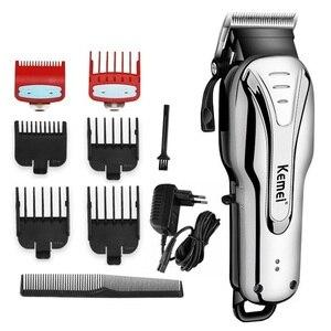 Image 1 - Tondeuse professionnelle pour hommes, rasoir électrique et rechargeable, idéal pour salon de coiffure, idéal pour faire des coupes de cheveux et barbier, 100v 240v
