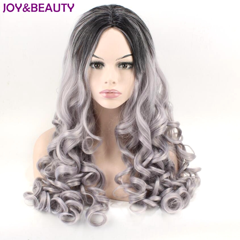 JOY&BEAUTY Synthetic Hair Long Loose Wave Wig Black Ombre Gray Heat Resistant Natural Hairline Hair Wigs For Women