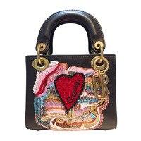 mini beaded embroidery tote Genuine Leather Handbag women Messenger Bag luxury designer female chain Shoulder bags clutch purse