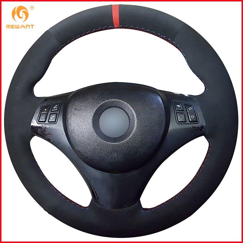 MEWANT Black Suede Car Steering Wheel Cover for BMW E90 320i 325i 330i 335i E87 120i