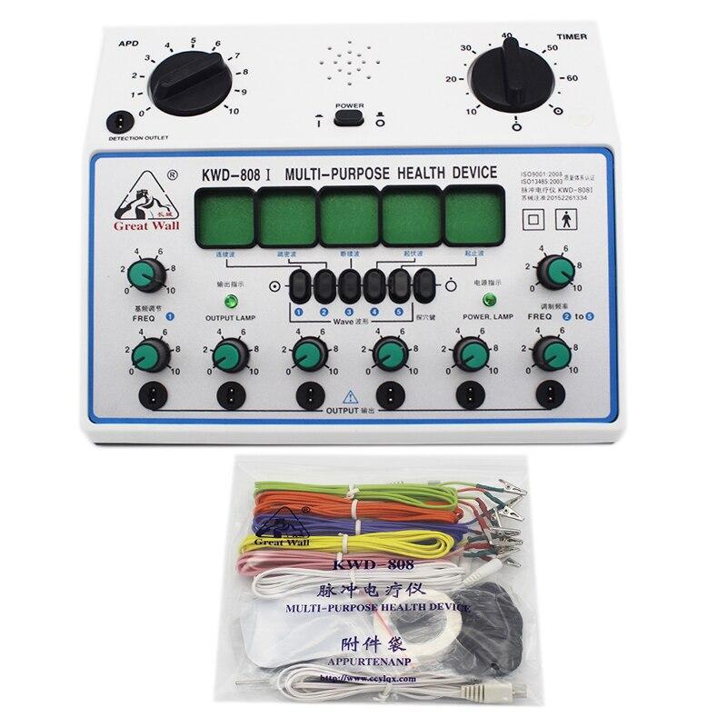 KWD808 I eléctrico estimulador acupuntura máquina eléctrica de nervio estimulador muscular 6 canales de salida parche masajeador cuidado-in Masaje y relajación from Belleza y salud    1