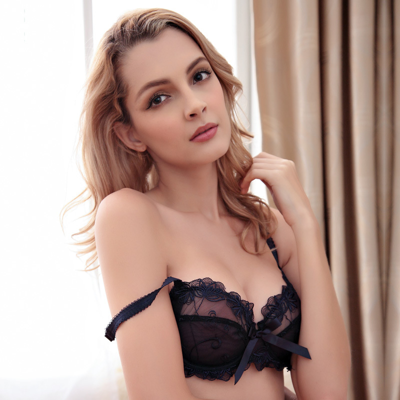 a9382fd09c Free shipping Bra   Brief Sets Flower gauze lace embroidery ultra-thin  transparent sexy bra