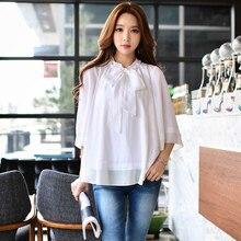 dabuwawa shirt female 2017 spring new series bow tie loose fashion korean casual white blouse women pink doll