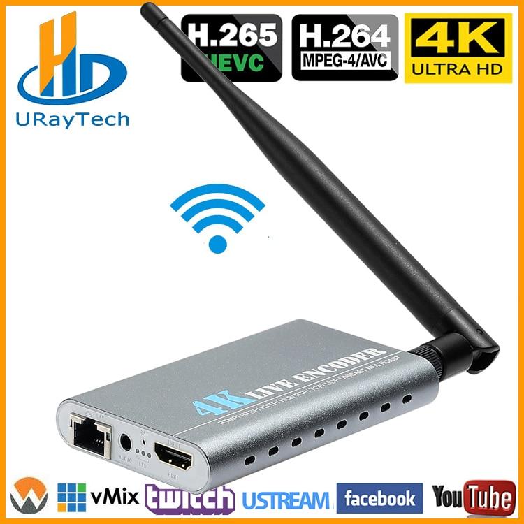 URay Wireless HEVC H.265 4K Ultra HD HDMI Para IP Codificador De Vídeo H.264 IPTV Codificador Codificador de Streaming Ao Vivo H265 servidor Wi-fi