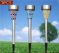 Solar LED Plug Lawn Lamp Mosaic Style Waterproof Outdoor Light Sensor Path Garden Decoration Lights Landscape Lighting 3pcs/set