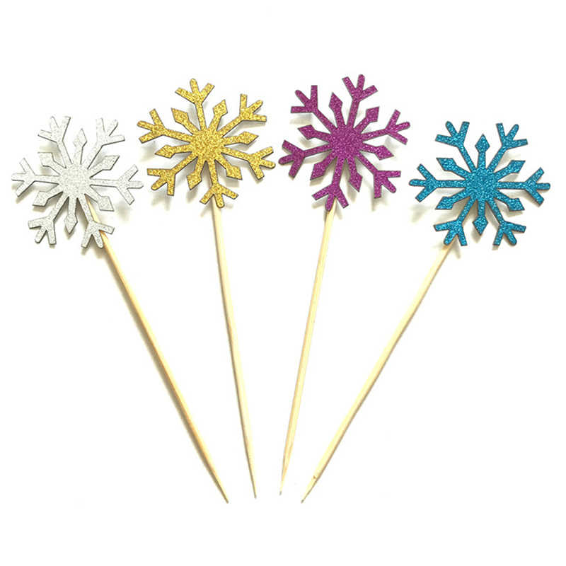 10 Piece/Bag Snowflake Cupcake Toppers Baby Girl Frozen Birthday Party Decorations Kids Christmas Cake Supplies Accessories