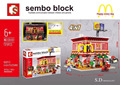 2016 New SD6901 1729Pcs LED McDonald's restaurant Model Building Kits toy Blocks Bricks Compatible Children Toys Gift