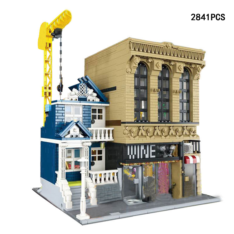 Hot city street view wine bar and Finance Corporation moc building block model Bartender figures bricks toys collection international macroeconomics and finance theory and econometric methods