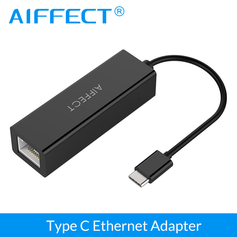 AIFFECT tipo C a Gigabit Ethernet LAN RJ45 adaptador tarjeta de red por cable de alta velocidad de transferencia de datos para Macbook Chromebook NokiaN1