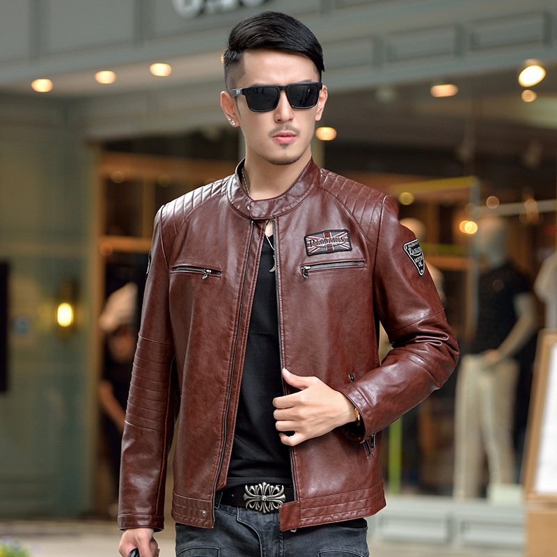 2017 New Fanshion Autumn Men Brand Split Leather Jacket Trend Motorcycle Slim Fit Sheeps ...