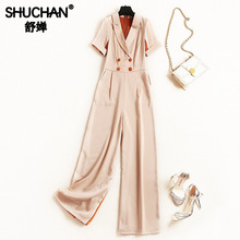 Shuchan Office Lady 2019 Women Designer Jumpsuits Button High Fashion Korean Solid Rompers Clothing New 51232