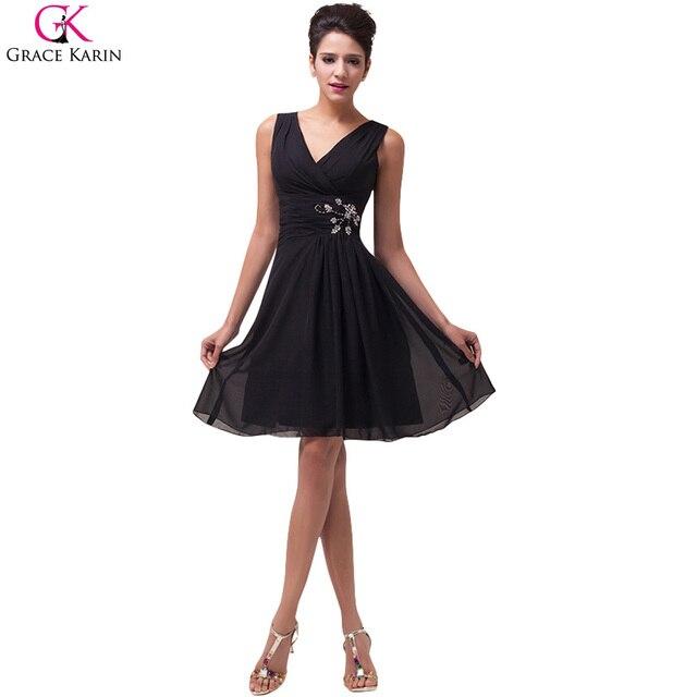 f933a6ccc9f6bb Cheap Elegant Grace Karin Sleeveless Beads V-neck Knee-length Chiffon Short Cocktail  Dresses