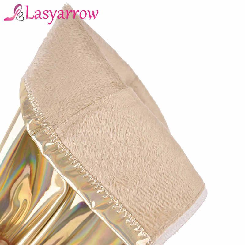 Lasyarrow kadın uyluk yüksek Stiletto çizmeler seksi diz çizmeler seksi kadın çizmeler altın gümüş rugan uzun çizmeler F564