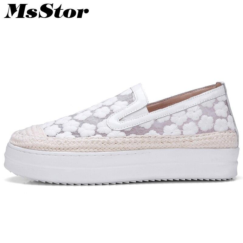 Glissement Mode Msstor Pour Plats blanc Rose Plates Respirant Rond 2018 Printemps Broder Bout Mesh Chaussures Nouveau Mocassins Femmes Blanc Sur Décontracté SqZXS