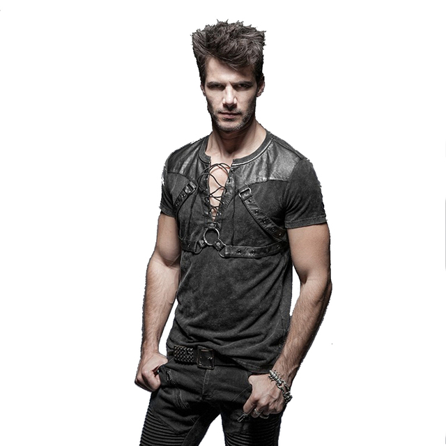 97c86b15114 Steampunk Black Men s Shirt Open Collar Short Sleeve Cotton T-shirt Casual  Gothic Novelty Tee Tops