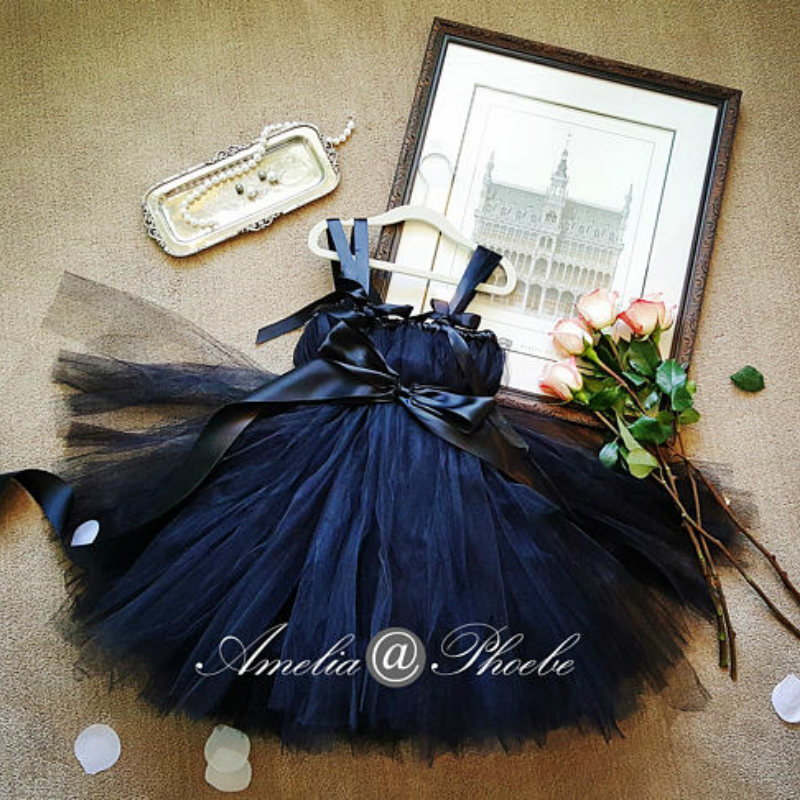 2-10Y Navy Blue Flower Girl Dresses Breakfast At Tiffany's Black Tutu Dress Wedding Gown for Girls Flower Girl's Tutu Dress anshmei at 10 blue