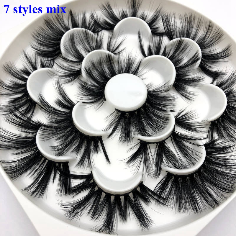 Mikiwi 25mm Lashes 7 Styles In One Tray 3d Faux Mink Eyelashes Big Dramatic Volumn 25mm 7 Pairs Per Pack Strip False Eyelash