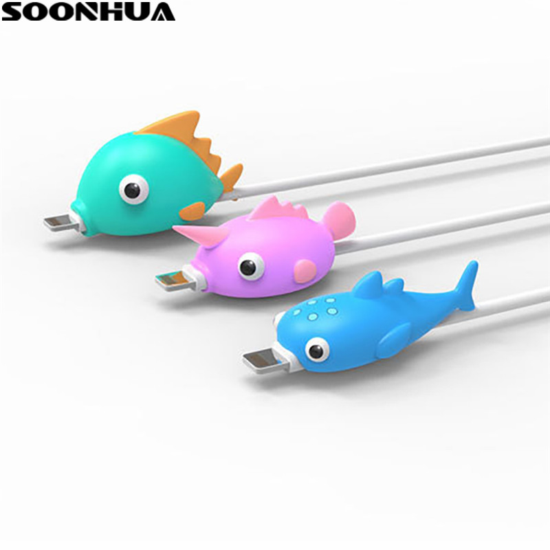 Lovely Cartoon Fish Cable Protector Mobile Phone USB Charging Cable Cover Data Line Cord Protective Case Cable Winder Organizer