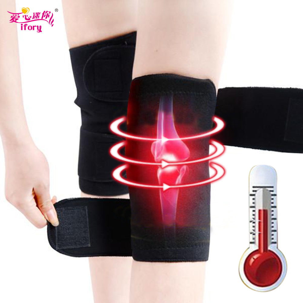Ifory 1 Pair Health Care Tourmaline Self Heating Knee Pad Magnetic Therapy Support Adjustable Knee Massager Relieve Leg Pain