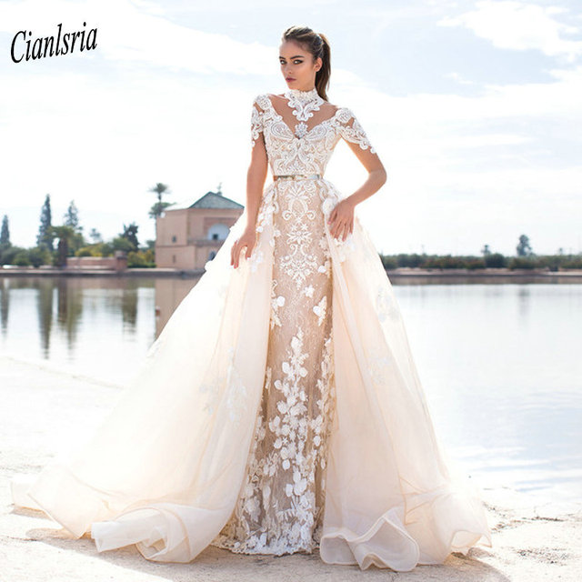 Gorgeous High Neck Champagne Lace Mermaid Wedding Dresses
