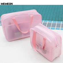 Durable Women Waterproof Swimming Bag Mesh Cloth Beach Handbags Transparent EVA Pool Beach Bags Swimsuit Stroage Swimming Tote