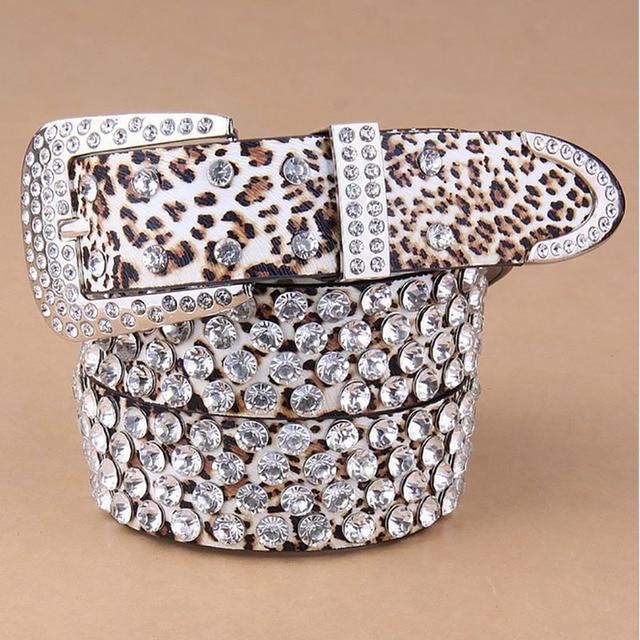 Moda Vintage De Luxo Feminino Punk Rock Artesanais Das Mulheres Hip Hop Diamante Cintura Cowskin Cinto de Couro Genuíno Cinta Estampa de Leopardo
