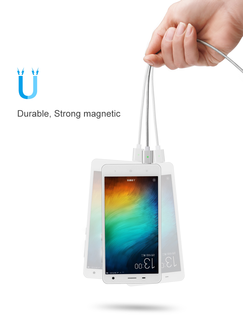 Elough E03 Magnetic Micro USB Cable Charger For Fast Charging And Magnetic Data Cable For Phones 8