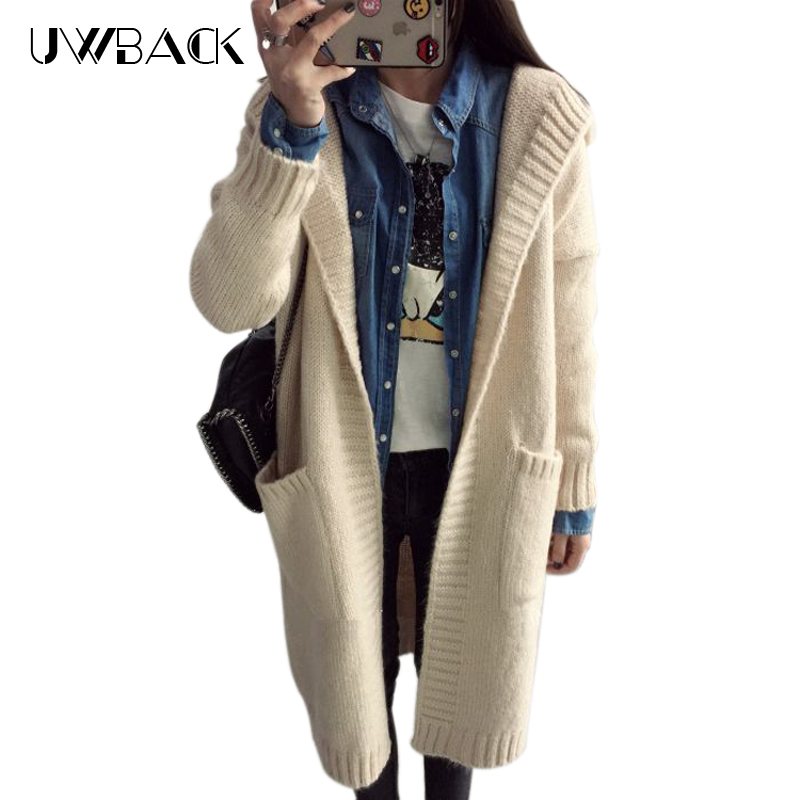 US $19.99 50% OFF|Uwback 2018 Frauen Weihnachten Cardigans Herbst Winter Jacke Für Weibliche dame Stricken Pullover Strickjacke Mantel Mit Kapuze
