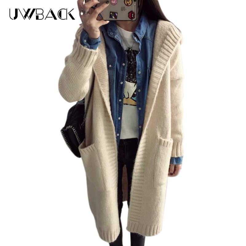Uwback 2018 cárdigan de Navidad para mujer chaqueta de Otoño Invierno para mujer suéter de punto chaqueta con capucha grande, PB2004