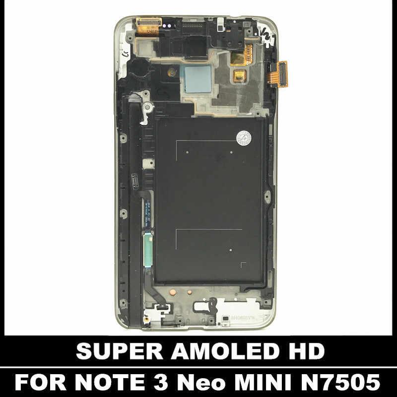 LCD de trabajo 100% probado para Samsung Galaxy Note 3 Neo Mini Lite N7505 Pantalla de repuesto LCD digitalizador táctil con marco