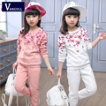 2016 new long sleeved T-Shirt Kids Girls spring two piece shivering Korean version of the suit for children on behalf of a large