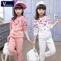 2016 novo de mangas compridas T-Shirt Dos Miúdos Meninas primavera duas peças tremores versão coreana do terno para crianças em nome de um grande
