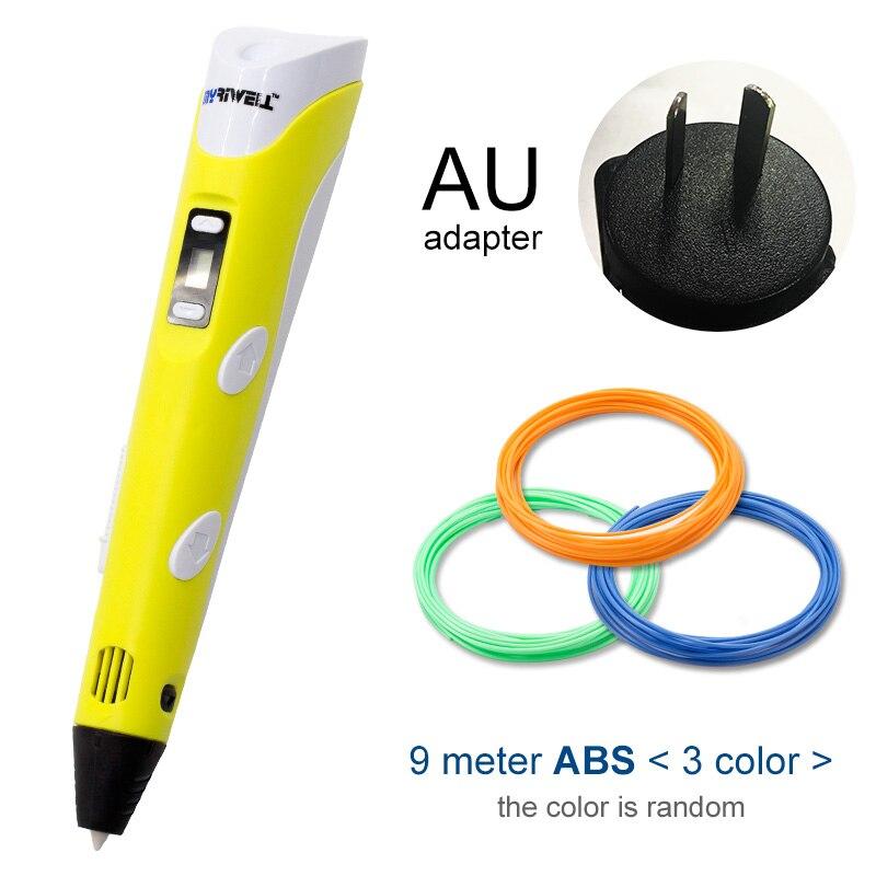 Myriwell, 3D ручка, светодиодный экран, сделай сам, 3D Ручка для печати, 100 м, ABS нити, креативная игрушка, подарок для детей, дизайнерский рисунок - Цвет: Yellow AU