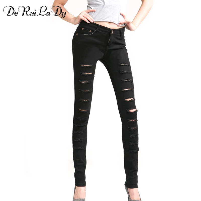 Holes Skinny Jeans Black White Ripped Jeans For Women