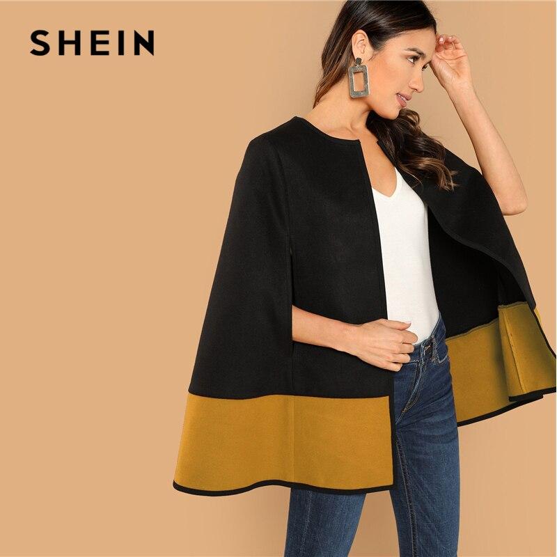 f43ed3e420c Comprar SHEIN de la calle elegante dos tono frente abierto capa manga cabo liso  mujeres abrigo mujer moderna Streetwear cabo abrigos Online Baratos.