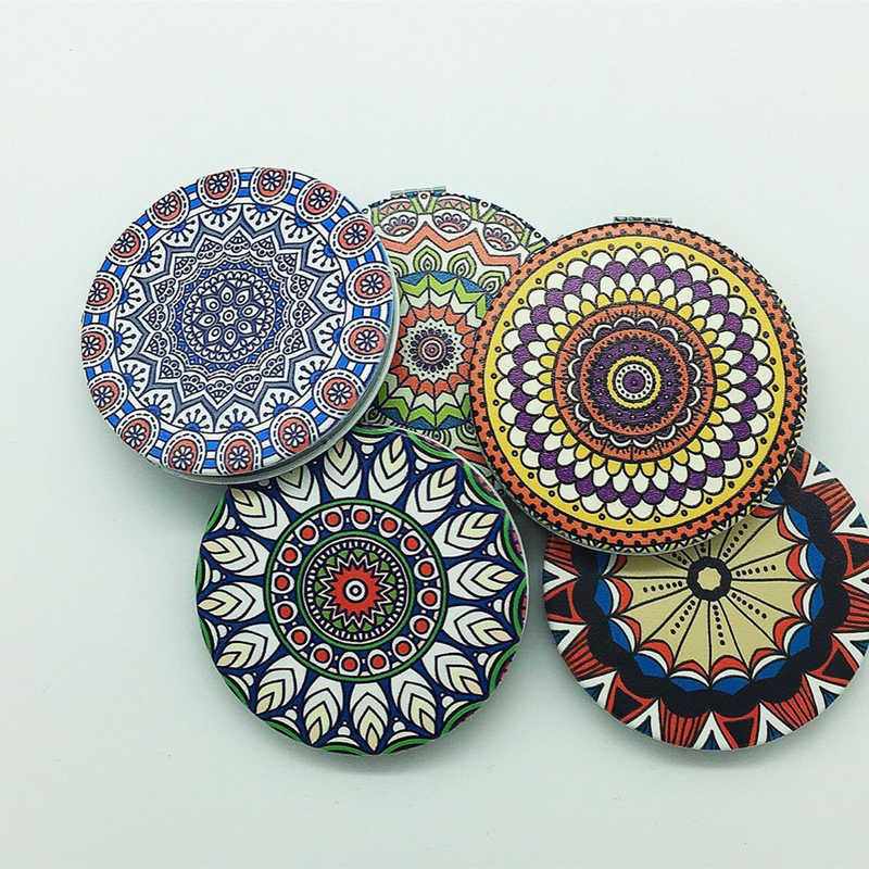 1pc New Portable Lady Pocket Crystal Makeup Mirror Double Sides Round Vintage Folding Make Up Compact Mirrors Random Color