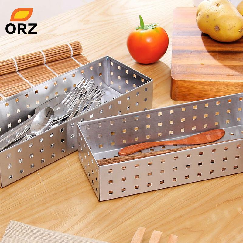 ORZ 2 stücke Besteck Schalen Geschirr Lagerung Korb Edelstahl Metall ...