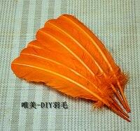 Gros 100 pcs 25 - 30 cm couleur orange véritables plumes de dinde naturelles plumes cheveux extensions plume d'oie