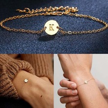 1 PC New Women Girl Golden A-Z 26 Letters Bracelet For Adjustable Wristband Personality Simple Jewelry Gift