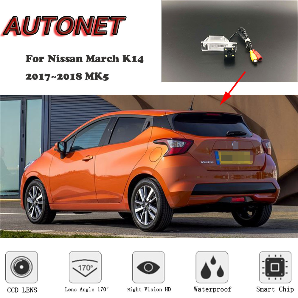 AUTONET HD Night Vision Backup Rear View camera For Nissan March K14 2017~2018 MK5 CCD/license plate Camera