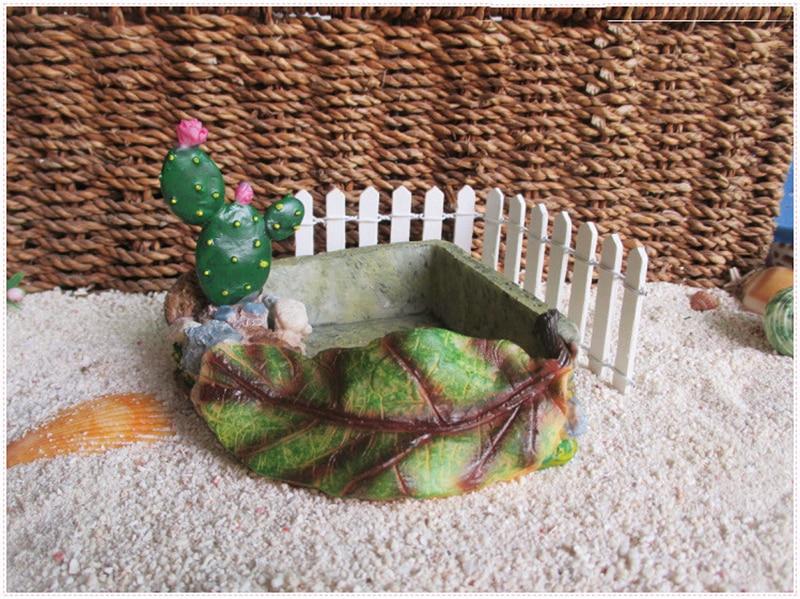soldado resina cangrejo cactus estanque alimentacin olla para tortuga reptil crawler caja de resina caja de