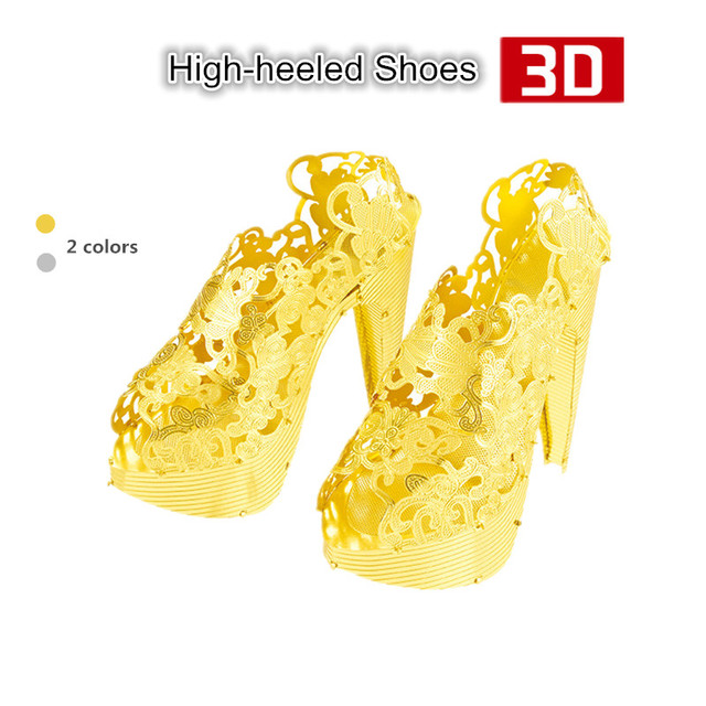 Nanyuan High-heeled Shoes 3D Metal Puzzles Mini 3D Simulation Model Kits DIY Funny Toys for Valentine's Day Women Gifts