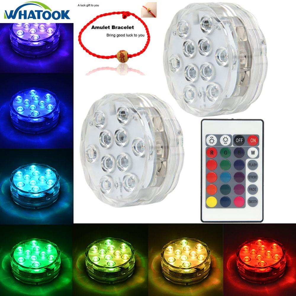 2set Rgb Led Waterproof Pool Light Multi-color Underwater Light Swiming Pool Lamp With Remote Controller For Wedding Celebration Lights & Lighting